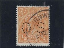 1918 Australia KGV 1/2d orange SG O66 OS perfin single wmk fine used