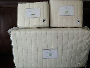 3pc Pottery Barn Cotton Silk Channel Queen Quilt & 2 standard shams Ivory NEW