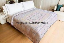 Indian Hand Stitched Kantha Quilt Bedspread Bed Cover Handmade King Size Blanket
