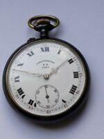 Antique pocket watch chronometre F.D. Paris ;15 jewels, gun metal,