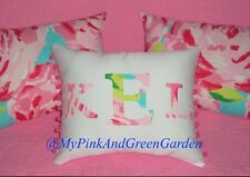 SALE! NEW Monogram pillow made with LILLY PULITZER  Pink First Impression Fabric