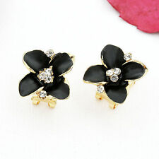 Contemporary Enameled Black Flower Leverback Earrings w Clear Rhinestones