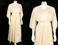 VTG 1900s Victorian Edwardian 2pc SILK DE CHINE LACE INSERTION WEDDING DRESS XS