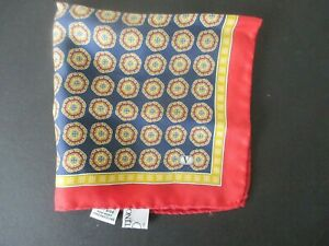 VALENTINO red blue & yellow silk pocket square w circular mini-micro pattern