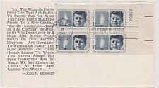Us Fdc 1964 John F. Kennedy Kjm Cachet Error Blue Print Missing Plate Block|