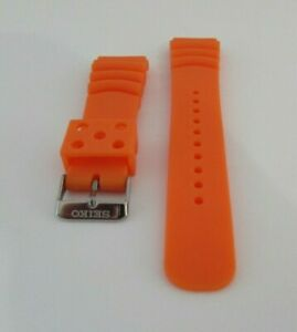 REPLACEMENT SEIKO ORANGE RUBBER WATCH BAND SIZE 20 MM BONUS TWO FAT SPRING BARS