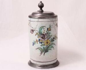 Antique German/Austrian Faience Beer Stein Salzburg Walzenkrug Floral c.1820s