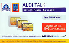 Aldi Talk Starter-set triple tarjeta SIM con 10 € start haberes prepago e-plus