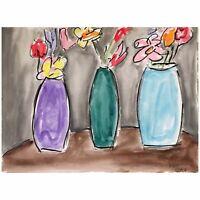 Matt Scalf Floral Flowers ORIGINAL PAINTING Vase Expressionism Watercolor 9x12