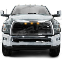 Big Horn 2+3LED Black Packaged Grille+Chrome Shell for 10-18 Dodge RAM 2500+3500