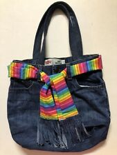 BLUE Handmade bag TOTE DENIM JEANS UPCYCLE RECYCLED PROJECT KNITTING-OOAK-POCKET