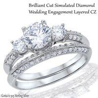 Engagement Wedding Brilliant Cut CZ Genuine Sterling Silver Ring Set Size 3 - 12
