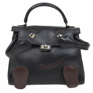 HERMES MINI KELLY DOLL Mascot Hand Bag □D Black Veau Gulliver 05703