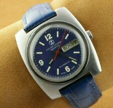 VINTAGE FAVRE LEUBA BLUE AUTOMATIC SWISS MEN'S WORKING WRIST WATCH RARE