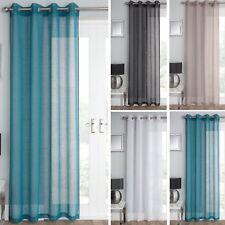 "Plain Linen Effect Single Voile Curtain Net Panel Eyelet Top Window Door 55""W"