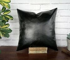 Black soft faux leather - gray poly linen pillow cover-16''x16''