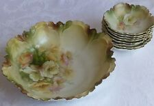RS Prussia Berry Bowl set in blow out mold, soft color floral service for 8