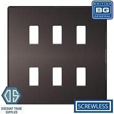 BG Black Nickel Screwless 6 Gang Metal Front Cover Plate GFBN6