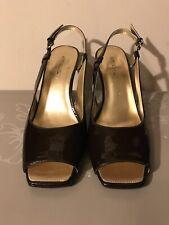 56b77958381 New Women s Aerosoles Wedge Shoes Pretty Peep Toe Cut Coffee-Brown Sz 9.5
