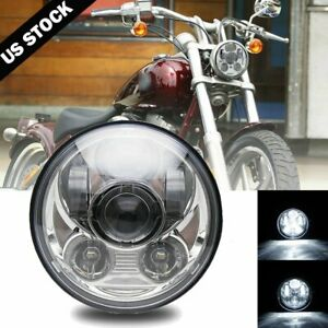 "Brightest 5-3/4"" 5.75"" inch LED Projector Headlight DRL for Motorcycle Motor"