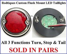 Flat Mount LED Taillights Round Stainless Steel Hot Rod 12 Volt Ford F3336