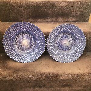 2 Blue Art Deco Large Plate Set Metal Blue Pattern Dinner Serving Presentation