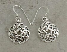 UNIQUE .925 STERLING SILVER ROUND CELTIC KNOT EARRINGS style# e0833