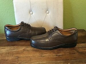 Mens Brown Leather Lace Up Pavers Shoes - Size UK 9 Wide , EU 43