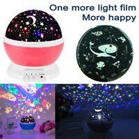 LED Night Star Sky Projector Light Lamp Rotating Starry Baby Room Kids Gift UK