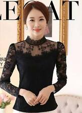 Women Casual Top High Fashion 2017 Summer New Lace Hollow Long Sleeves Mesh Top