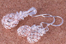 Sterling Silver Pineapple Pendant and Earring Set