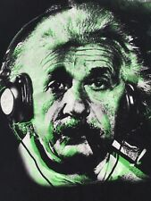 Albert Einstein wearing headphones Genius black T-Shirt sz 2XL