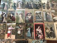 Lot of 25 Antique ~Romantic Postcards-Vintage Couples & Romance Men & Women-b335