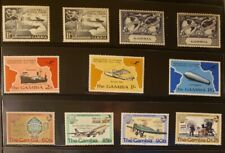 Gambia Aircraft & Aviation Stamps Lot of 22 - MNH - See Details for List