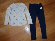 Justice Outfit Gray Long Sleeve Koala Shirt & Blue Lined Leggings Size 12 NWT