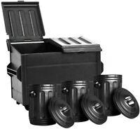 Black Dumpster & 3 Black Trash Cans For WWE Wrestling Action Figures