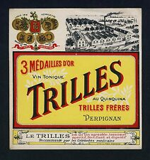 France VIN TONIQUE TRILLES Apéritif * Vintage 1910s Litho Label / Etikett