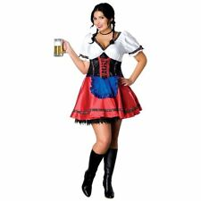 Oktoberfest Sexy Fraulein Costume Multi Colored Satin Dress W/ Attached Apron XL