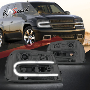 (LED DRL BAR) Projector Headlights for 02-09 Trailblazer/EXT Smoked/Clear Corner