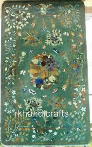 30 x 48 Inches Marble Coffee Table Top Inlay Dinning Table with Floral Design