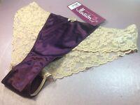 Women Panties,bikinis ILUSION size L. Purple Satin front&beige Floral Gauze