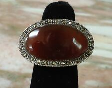 Sterling Silver Ring  Red Quartz & Marcasite Oval Size 6.25 - 10.6g