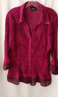 Women's AVENUE Button up Blouse Top Sz 18/20 Crinkle Polyester deep Red & black