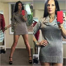 METALLIC 3/4 Slv SLINKY fine KNIT jumper mini dress 8 10 12 COWL neck TAUPE xc