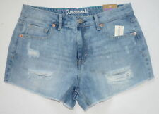 Womens AEROPOSTALE High-Waisted Light Wash Destroyed Denim Shorty Shorts #9259