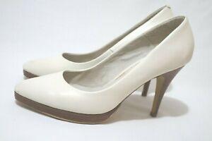 NEXT Size 8  Womens Vintage/Retro Smoked White Leather Mini Platform Heels