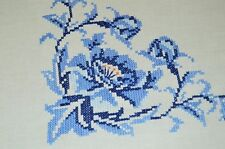 ART DECO INSPIRED BLUE FLORAL! VTG GERMAN SPRING HAND EMB LINEN TABLECLOTH