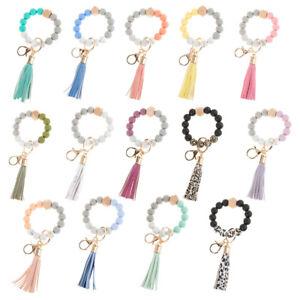 Charm Bracelet Key Chain Silicone Beads Tassels Wristlet Key Ring Bangle Keyring