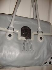 BETSEY JOHNSON Large Sliver w/ Red & Black interior Handbag/Purse Pre-owned  100