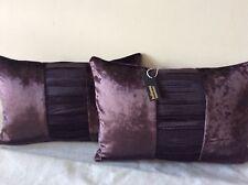 pkt 2 designer romo zinc lens collection silk pleated /velvet diva plum cushions